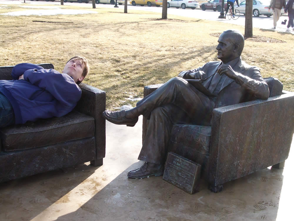 Getting dental advice from a statue