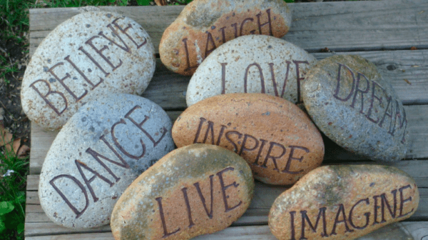 Rocks with pieces of advice